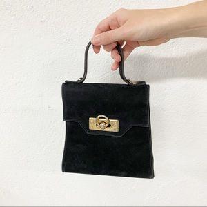 Vtg Nikolai Black Mini Suede Handbag Gold Hardware